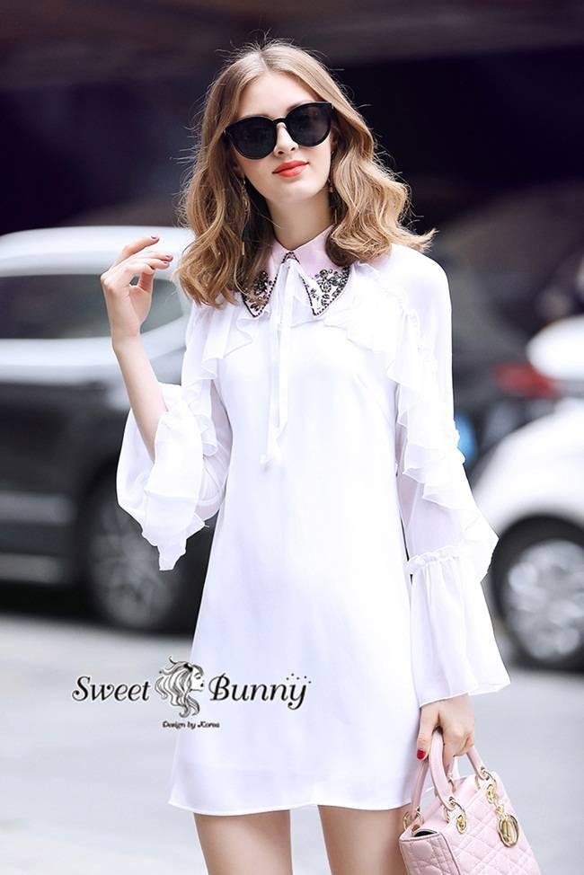 เสื้อผ้าแฟชั่นเกาหลี Sweet Bunny Present... Overlay White Shirt Dress