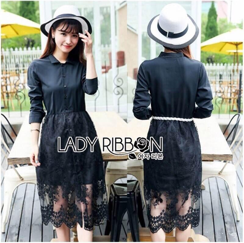 เสื้อผ้าแฟชั่นเกาหลี Lady Ribbon's Made Lady Charlie Sweet Minimal Chic Insert Lace Shirt Dress