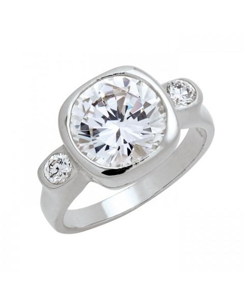 แหวนประดับเพชรฝังหุ้มตรงกลางและด้านข้าง ชุบทองคำขาวแท้