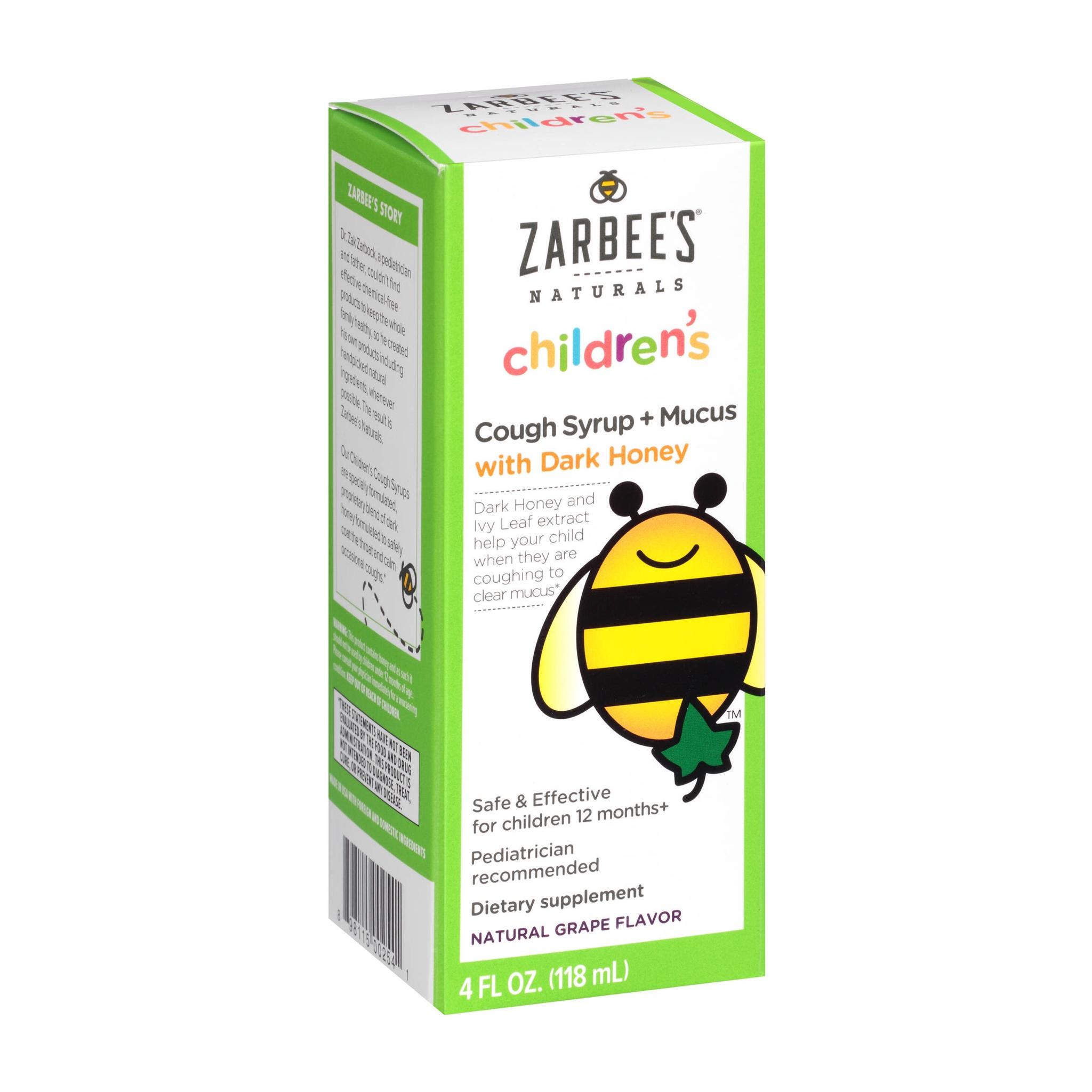สมุนไพรบรรเทาอาการไอและลดน้ำมูกสำหรับเด็ก ZARBEE'S Naturals Children's Cough Syrup + Mucus with Dark Honey