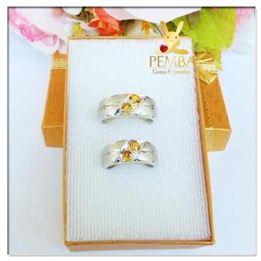 แหวนพลอยคู่รัก Feel good ฝังพลอยบุษราคัมแท้
