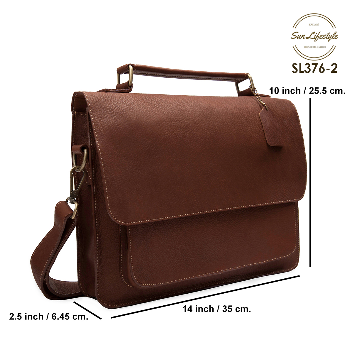 SL376 กระเป๋าสะพายหนังแท้ใส่เอกสาร แล็ปท็อป (ถือ/สะพาย)