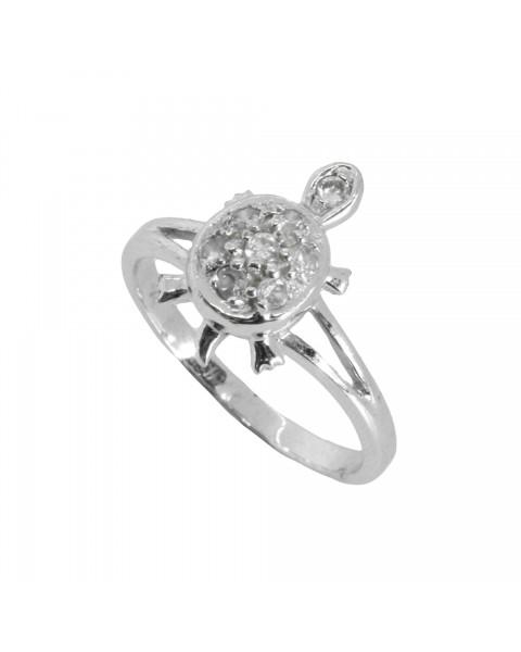แหวนอัลลอยด์ชุบทองคำขาว ประดับเต่าเพชร