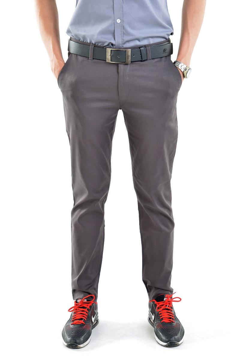 กางเกงสแล็คผู้ชายสีเทาดิน ผ้ายืด ทรงกระบอกเล็ก