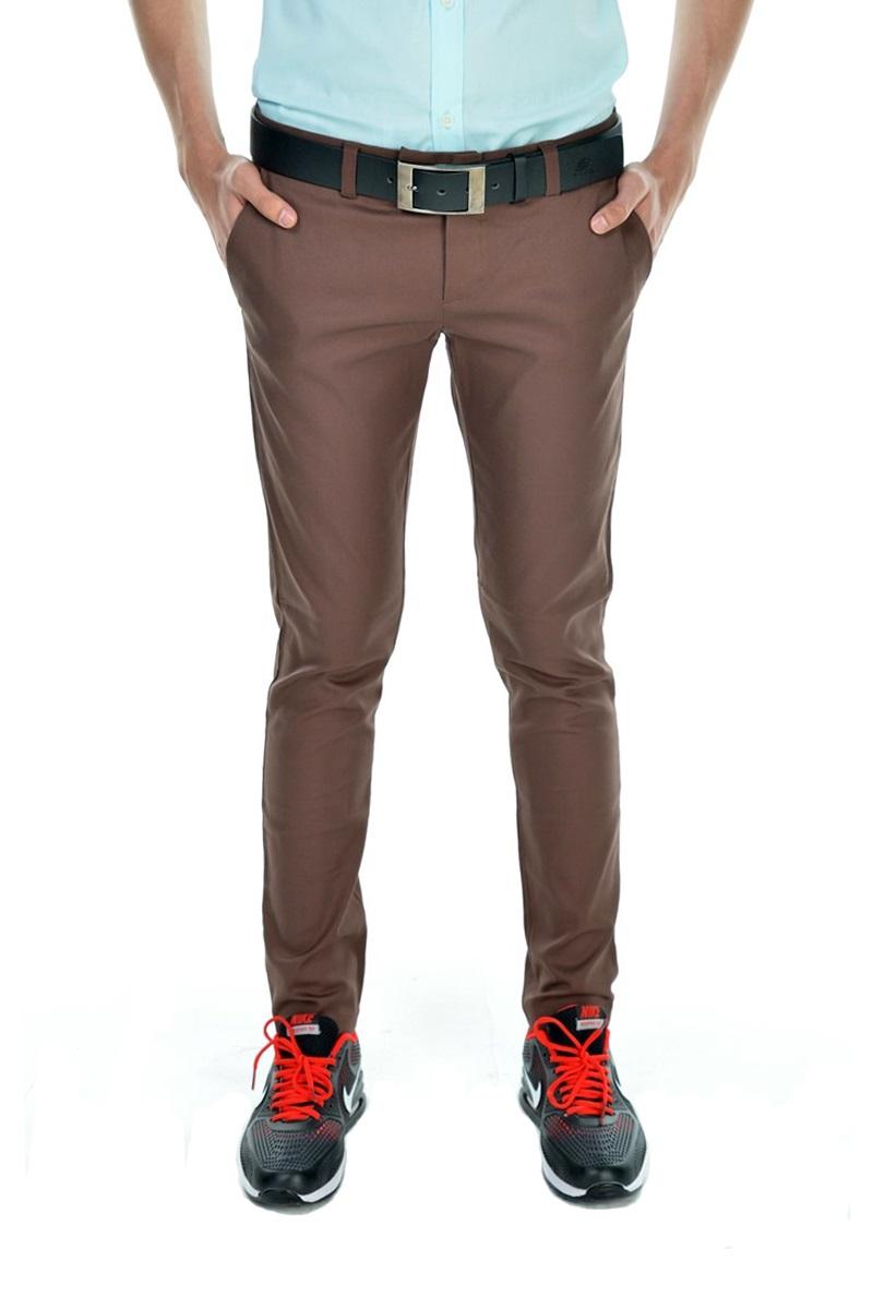 กางเกงสแล็คผู้ชายสีน้ำตาล ผ้ายืด ขาเดฟ