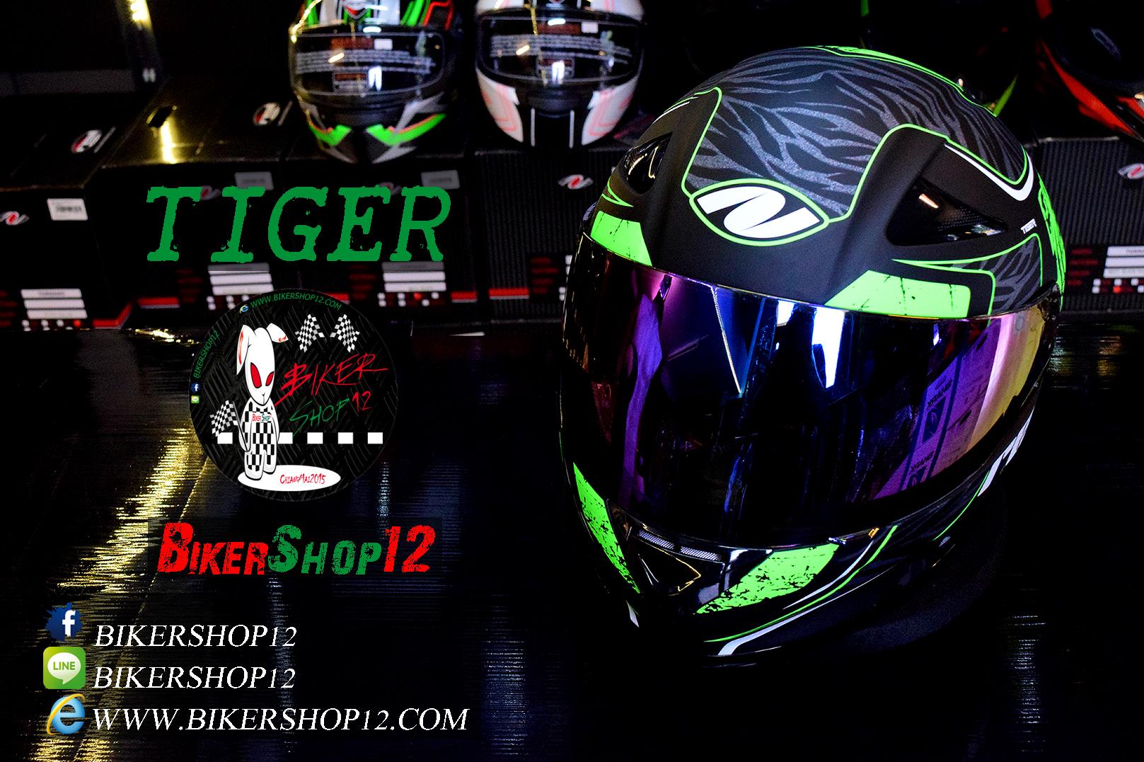 หมวกกันน็อคReal Hornet-Tiger สีดำด้าน-เขียว