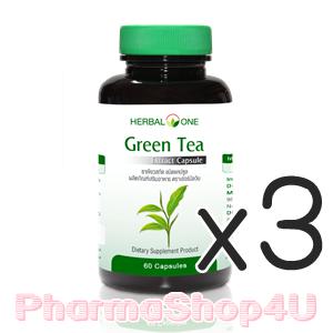 (ซื้อ3 ราคาพิเศษ) ชาเขียวสกัด Herbal One อ้วยอัน Green Tea Extract 60 เม็ด อ้วยอัน ชาเขียวสกัด ฤทธิ์ต่อต้านอนุมูลอิสระที่แรงกว่าวิตามินเอ 20 เท่า ลดระดับโคเลสเตอรอลในเลือด ลดความดันโลหิต