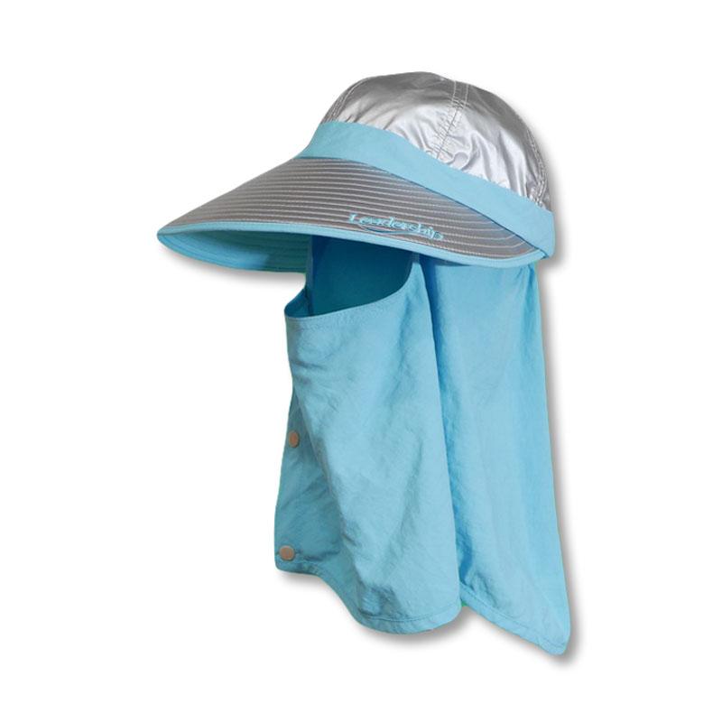 หมวกกันUV กันยูวี ทรงแก๊ป หมวกปิดหน้า ปิดคอ สีฟ้า by Season Tales