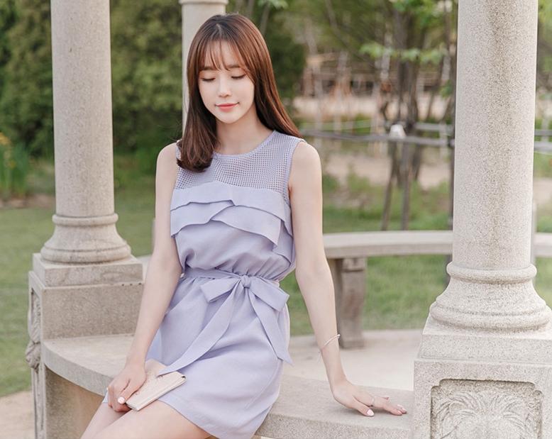ชุดเดรสสั้นสีม่วง สวยๆ ชิคๆ สไตล์สาวเกาหลี