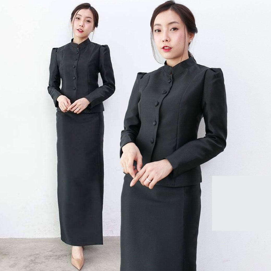 ชุดไทยจิตรลดาสีดำ พร้อมส่ง ราคาถูก