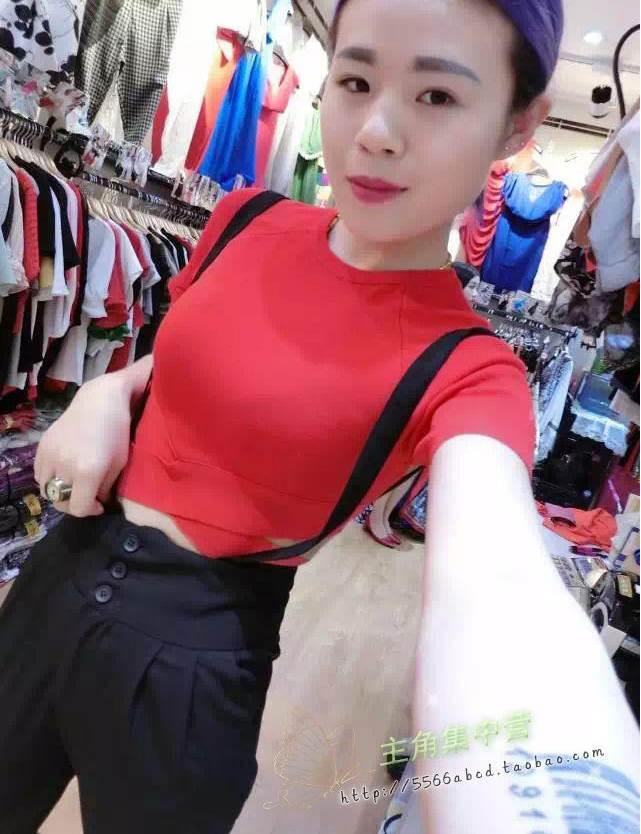 (SALE) เสื้อแฟชั่น แต่งคาดเอว sexy สีแดง