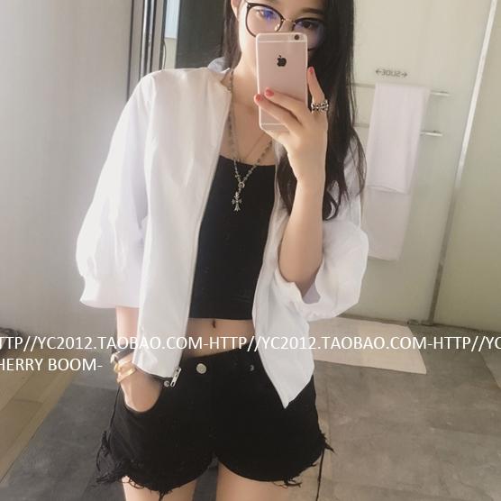 (ภาพจริง) เสื้อคลุม แขน4ส่วน ซิปหน้า ผ้าร่ม สีขาว