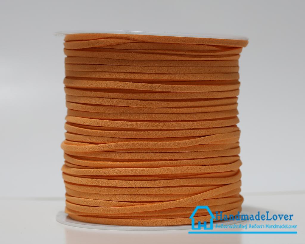 [3 มิล] เชือกหนังชามุด สี 41 (ส้มโอรส) ม้วนใหญ่ (100 หลา)
