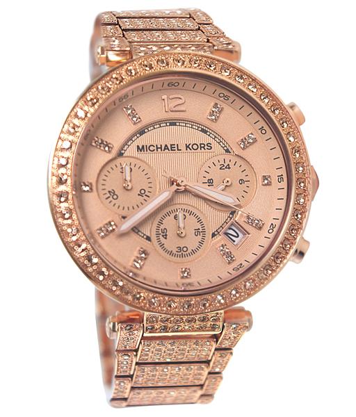 นาฬิกา Michael Kors ไมเคิล คอร์ รุ่น MK5663 Uptown Glam Parker Chronograph Rose Gold-Tone Ladies Watch