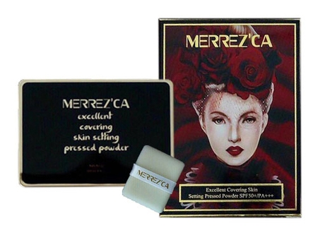 Merrezca Excellent Covering Skin Setting Pressed Powder SPF50+/PA+++ 9g. เบอร์ #21 Light Nude สำหรับผิวขาว