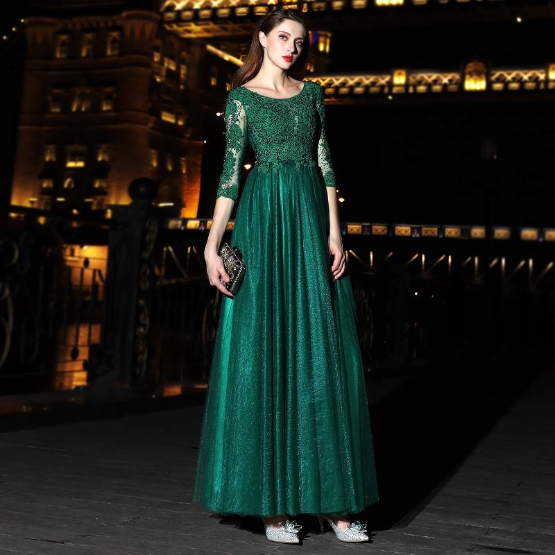 ชุดราตรีชุดออกงานชุดไปงานแต่งสีเขียวดูดีสวยหรู