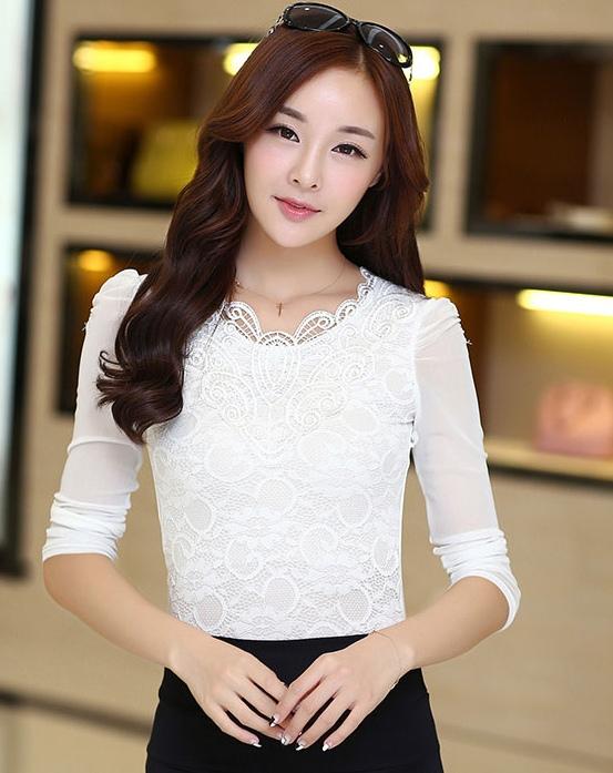เสื้อทำงานสีขาว ผ้าลูกไม้ คอกลม แขนยาวเสื้อผ้าซีทรู เนื้อผ้ายืดเข้ารูป