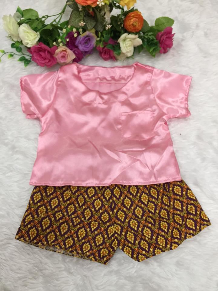 ชุดไทยเด็กชาย-สีชมพู