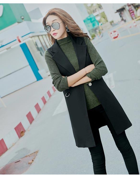 เสื้อสูทผู้หญิง เสื้อสูทแฟชั่น แขนกุด สีดำ คอปก ตัวยาว กระดุม 1 เม็ด