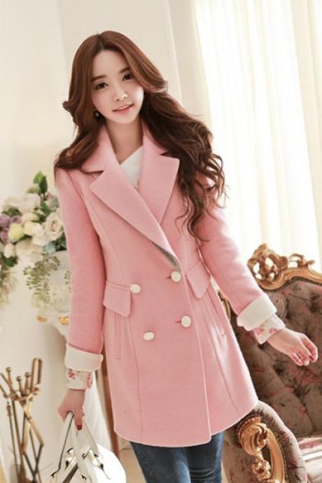 (สินค้าหมด) เสื้อโค้ทกันหนาวสไตล์เกาหลี สีชมพู คอปก แต่งแขนพับสีขาว แต่งกระดุม 2 แถวเก๋ ใส่ไปต่างประเทศได้