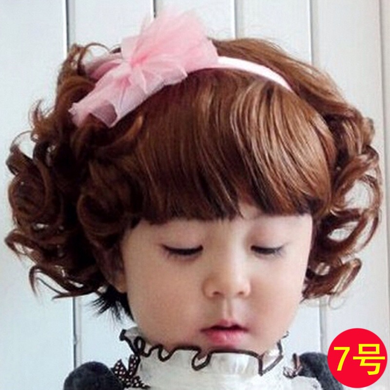 วิคผมเด็ก-ผมหยิกสไตล์เกาหลี (สีน้ำตาล)