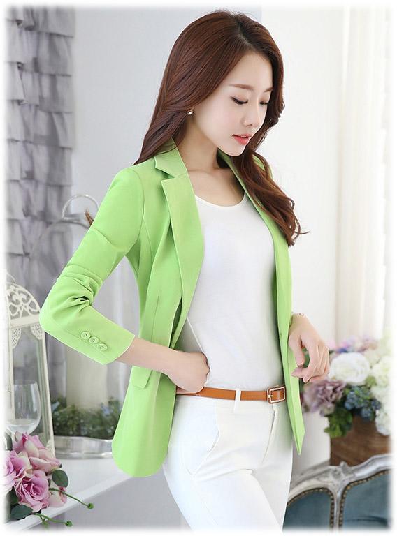เสื้อสูทแฟชั่น เสื้อสูทผู้หญิง สีเขียว แขนยาว