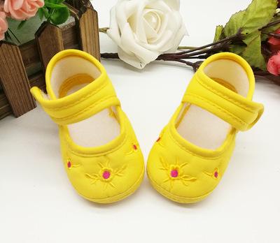 รองเท้าผ้า-ปักดอกไม้(เกสรสีโรส)