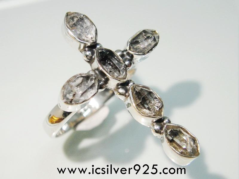 เพชรเฮอร์คิวเมอร์ ( HERKIMER DIAMOND ) แหวนเงินแท้ 925(แหวนเบอร์ : 51) 3.7g สำเนา