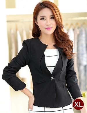 เสื้อสูททำงานผู้หญิง สีดำ คอจับจีบ แขนยาว กระดุม 1 เม็ด เอวเข้ารูป แต่งกระเป๋าหลอก ผ้าโพลีเอสเตอร์ มีซับใน ไซส์ XL