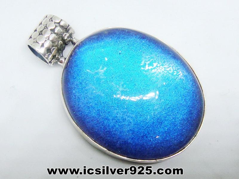 ▽ลาบราโดไรต์ Labradorite (แต่งเติมด้วยควอตซ์) จี้เงินแท้ (15g )