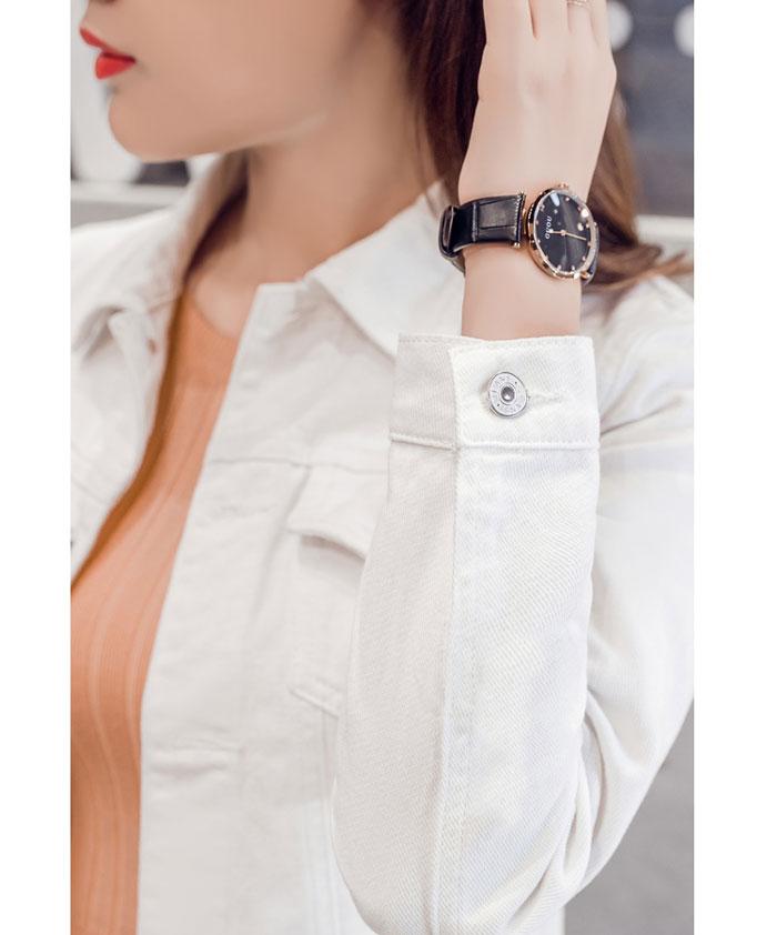 เสื้อยีนส์ผู้หญิง แจ็คเก็ตยีนส์ เสื้อคลุมยีนส์ สีขาว แขนยาว คอปก แฟชั่นเกาหลี