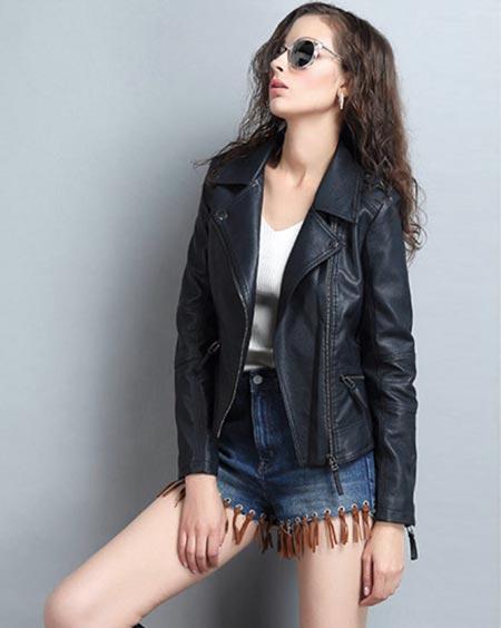 เสื้อแจ็คเก็ตหนังผู้หญิง แฟชั่นเกาหลี สีกรม แจ็คเก็ตหนัง PU คอปก มีสไตล์ แนวเท่ๆ