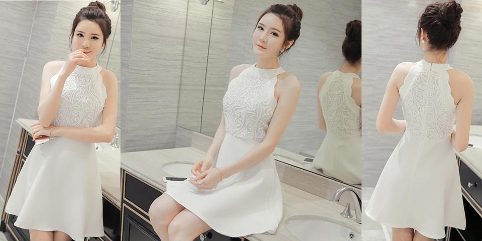 ชุดเดรสสั้นสีขาว ปักลายลูกไม้ แขนกุด แฟชั่นชุดเดรสน่ารักๆ สไตล์เกาหลี