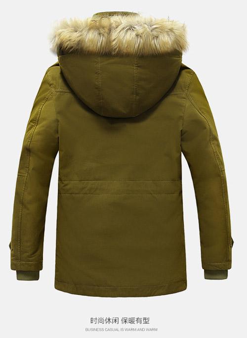 เสื้อกันหนาวผู้ชาย เสื้อแจ็คเก็ตผู้ชายมีฮู้ดติดเฟอร์ เท่ๆ สีเหลือง ซับบุขนอุ่นๆ