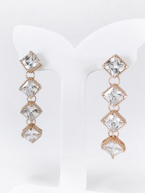 Gloria Glow Earring ต่างหูแฟชั่นเกาหลี ตุ้มหูห้อยยาว เพชร CZ สี Pink Gold พร้อมส่งค่ะ