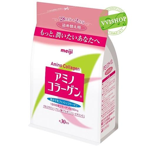 Meiji Amino Collagen 5000 mg แบบ Refill 30 วัน เมจิ คอลลาเจน ช่วยให้ผิวชุ่มชื่น เปล่งปลั่ง แก่ช้า ไร้ริ้วรอย เพียงวันละช้อน *พร้อมส่ง*