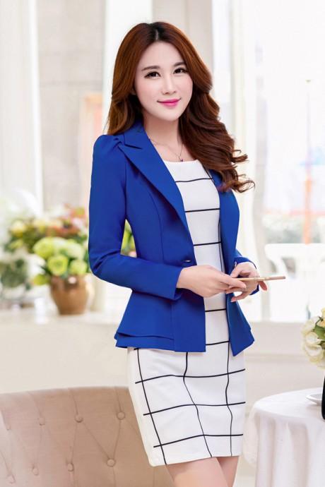 (สินค้าหมด) เสื้อสูทแฟชั่น เสื้อสูทผู้หญิง สีน้ำเงิน แขนยาว แต่งระบายชายเสื้อ 2 ชั้น