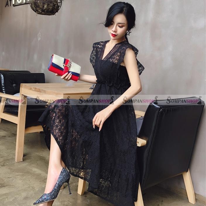 ชุดเดรสยาวสีดำ ลูกไม้ แขนระบาย แฟชั่นชุดเดรสสวยๆ น่ารักๆ ดูดี ( สินค้าพร้อมส่ง )