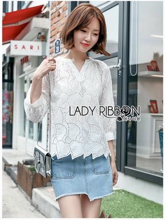 Cotton Blouse Lady Ribbon เสื้อคอตตอน