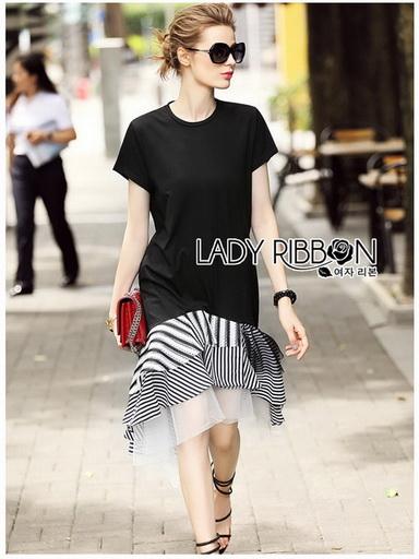 Black Ruffle Lady Ribbon Dress