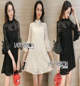 Lady Ribbon Catalina Ruffle-Sleeve High-Neck Lace Dress