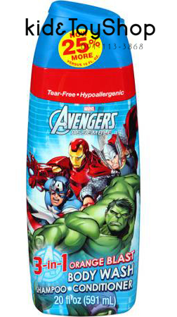 แชมพูครีมอาบน้ำ 3 in 1 Marvel Avengers Assemble กลิ่นส้ม ขนาด 20 fl oz