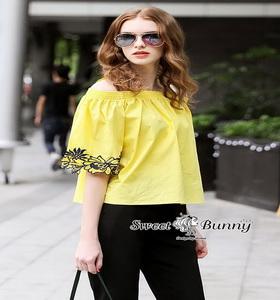 เสื้อปักสีเหลืองผ้าคอตตอนผ้าหนา
