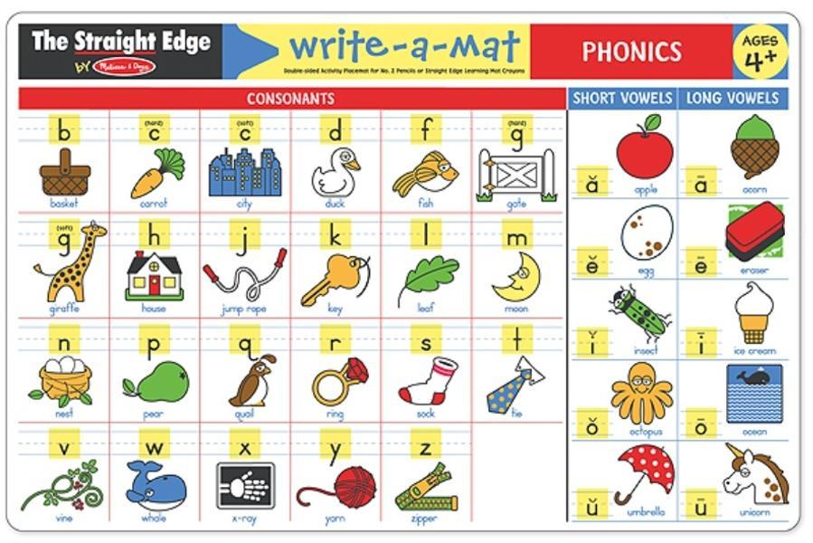 แผ่นรองจานแสนสนุก Write-A-Mat Learning Mat - Phonics