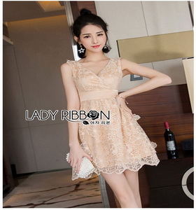 Organza Mini Cocktail Lady Ribbon Dress ค็อกเทล