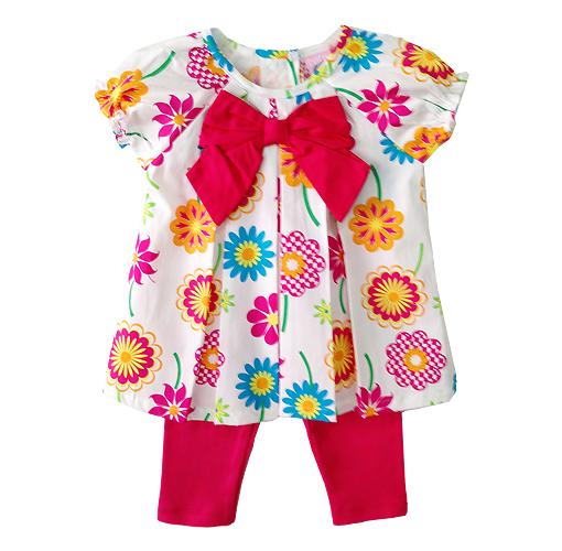 ขายส่งเสื้อผ้าเด็ก ชุดเสื้อเลกกิ้งพิมพ์ลายดอกไม้ Size 9/12, 12/18, 18/24m ขายส่ง ยกแพค