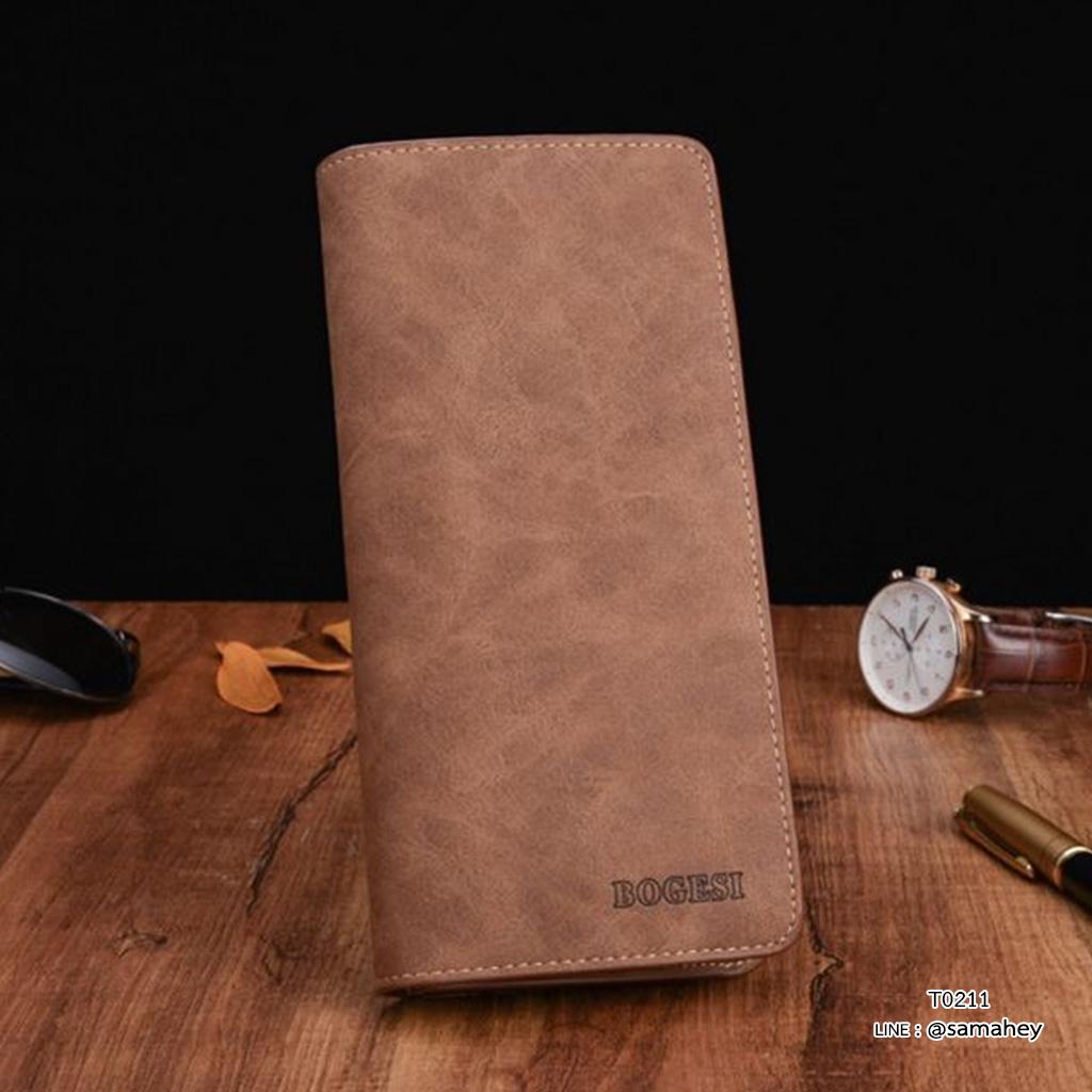 กระเป๋าสตางค์ผู้ชาย ทรงยาว BOGESI Clear - สีน้ำตาล