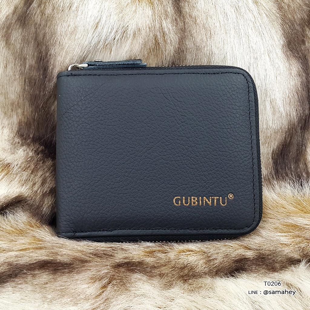กระเป๋าสตางค์ผู้ชาย หนังแท้ ซิปรอบ รุ่น GUBINTU Zipper - สีดำ