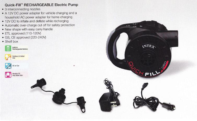 ที่สูบลมไฟฟ้า Intex 66622 + ใช้ได้ทันทีมีระบบชาร์ตไฟ
