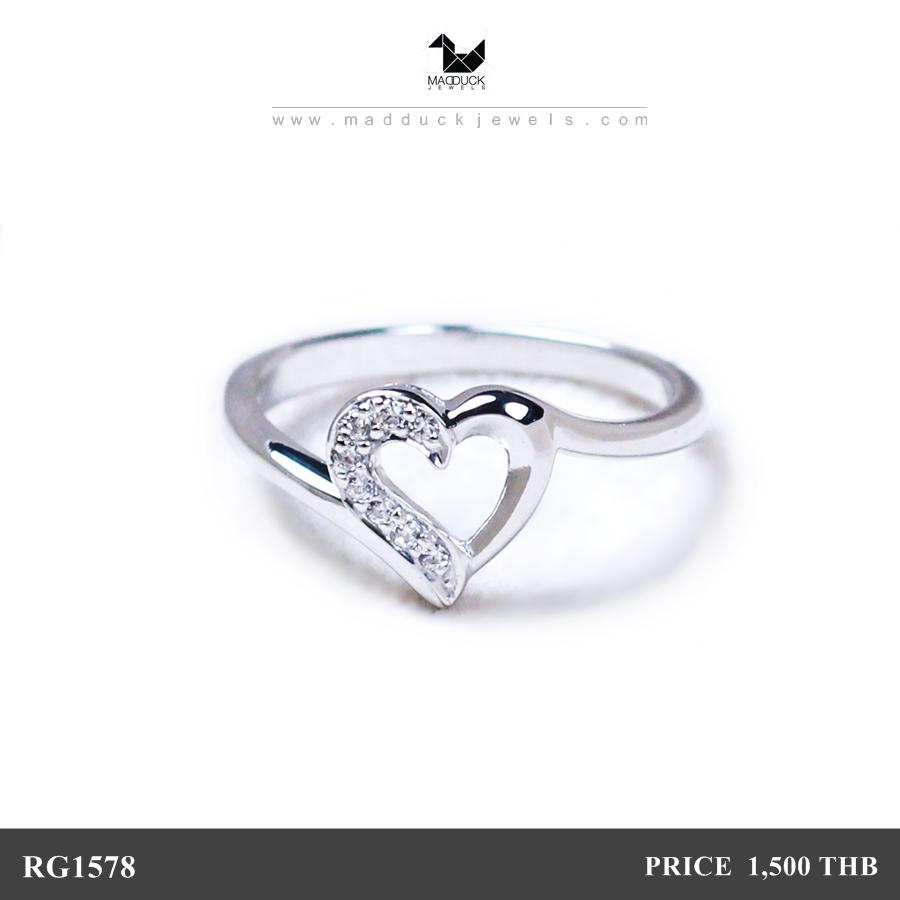 แหวนเงินแท้ เพชรสังเคราะห์ ชุบทองคำขาว รุ่น RG1578 Half Heart